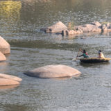 Traditional round boat in Hampi