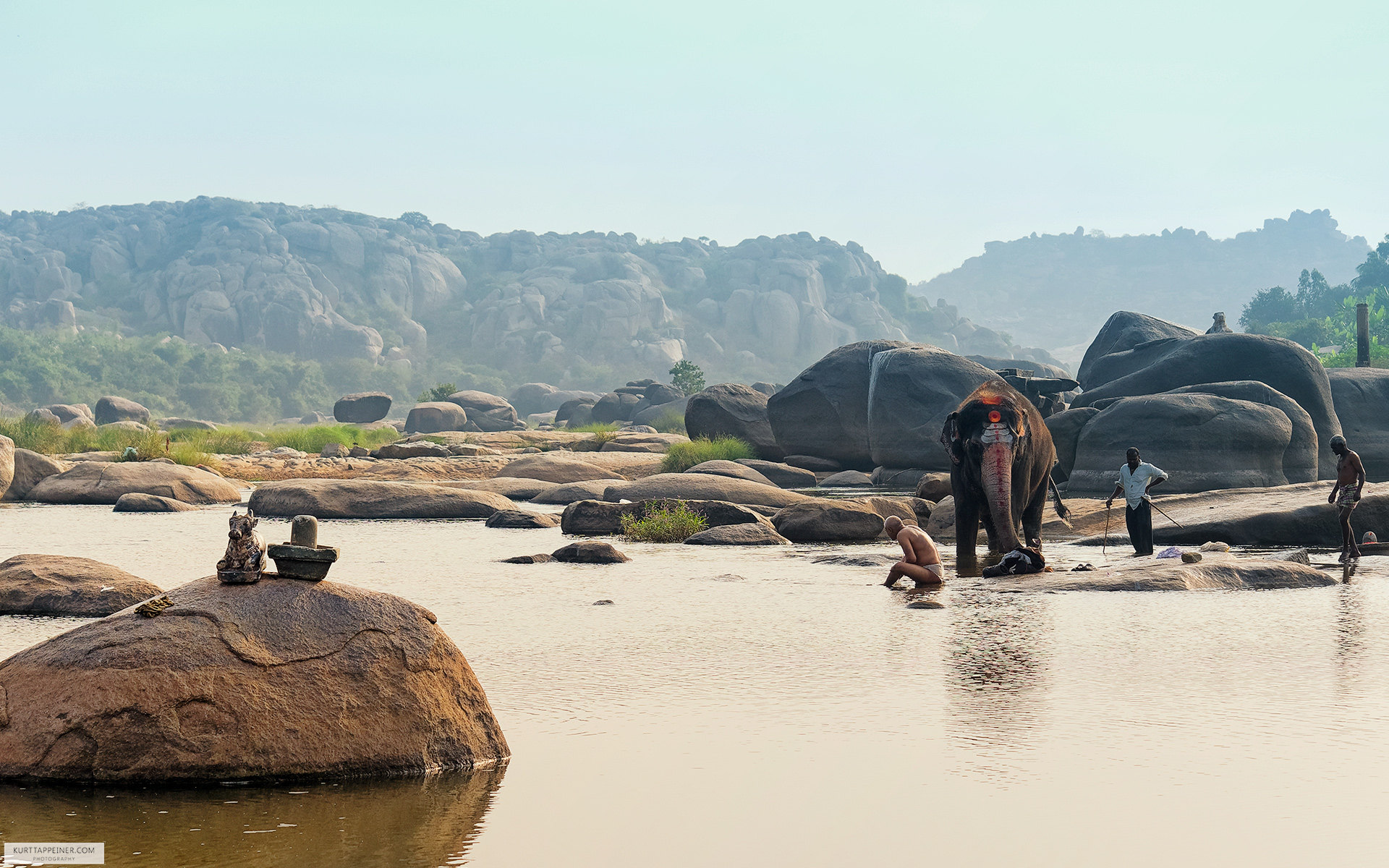 Lakshmi the Elephant Takes a Bath in Hampi