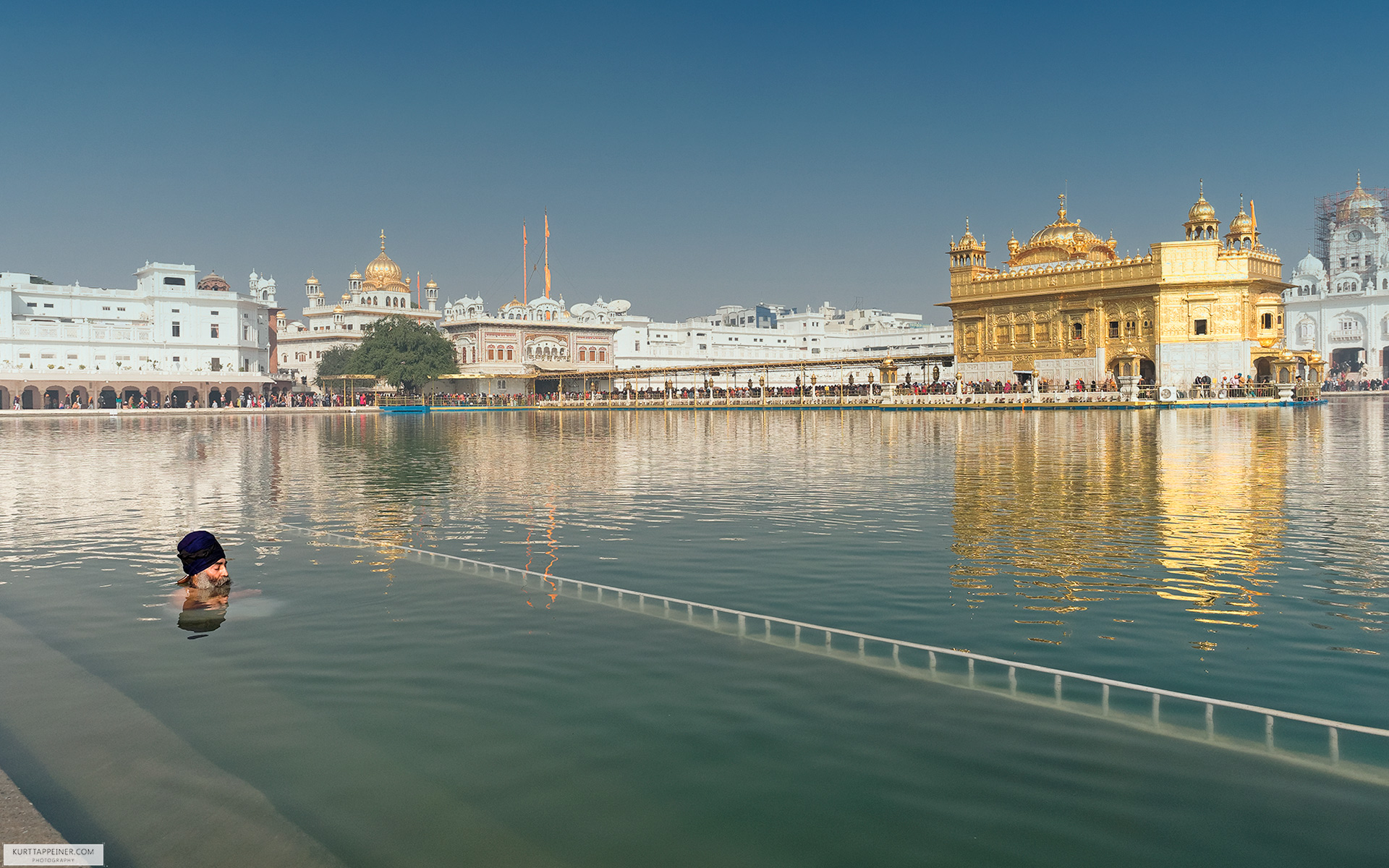 A Sikh man bathing in the pond of the Golden Temple of Amritsar