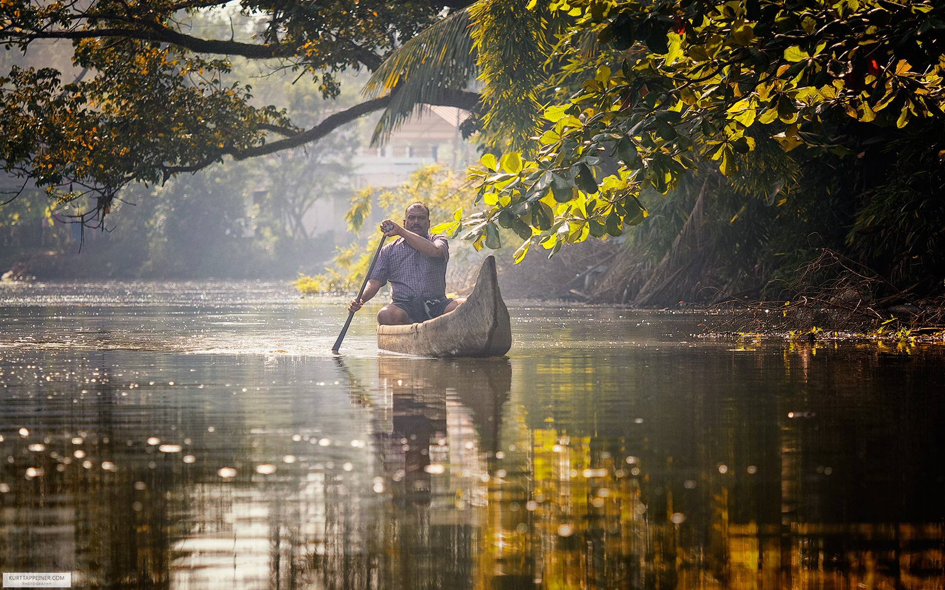 Traditional wooden canoe Backwater Kerala